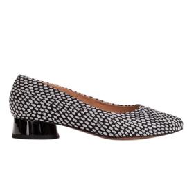 Marco Shoes Baleriny w biało-czarne wzory białe