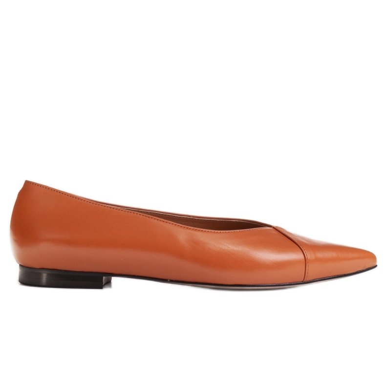 Marco Shoes Baleriny z brązowej skóry licowej