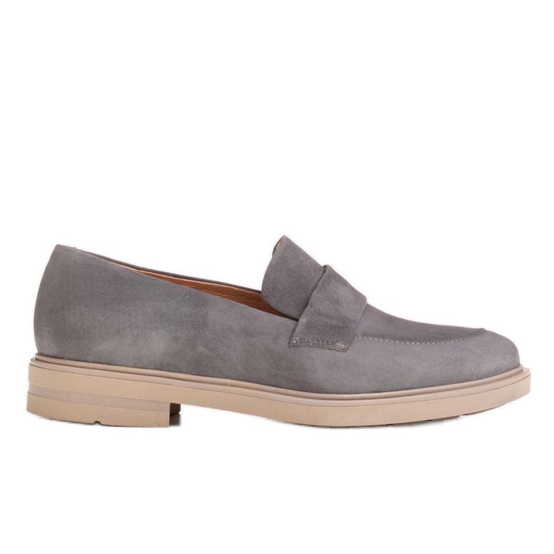 Marco Shoes Szare mokasyny na lekkiej podeszwie