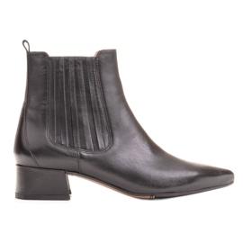 Marco Shoes Ocieplane eleganckie botki z elastyczną gumą w cholewce czarne