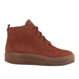 Marco Shoes Niskie botki sznurowane z miękkiej skóry pomarańczowe