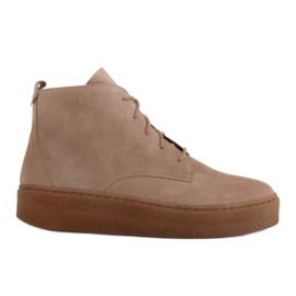Marco Shoes Niskie botki sznurowane z miękkiej skóry beżowy