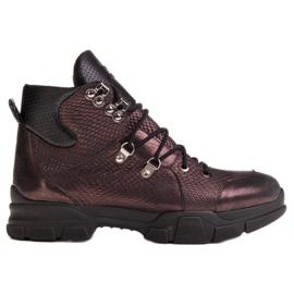 Marco Shoes Sportowe botki damskie z lekkim ociepleniem jesienno-zimowym fioletowe