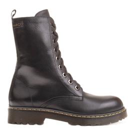 Marco Shoes Wysokie trzewiki, glany wiązane na półprzeźroczystej podeszwie czarne