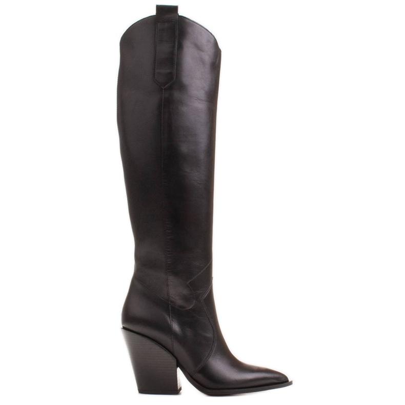 Marco Shoes Wysokie kozaki damskie kowbojki z naturalnej skóry czarne