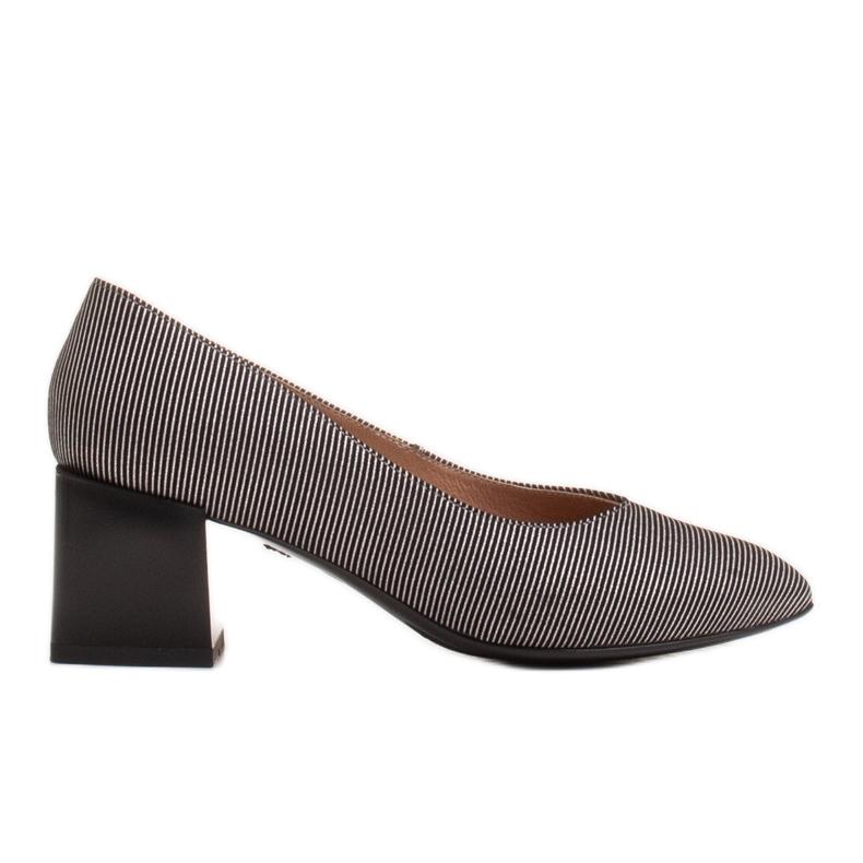 Marco Shoes Czólenka damskie z naturalnej, miękkiej skóry w srebrne paski czarne