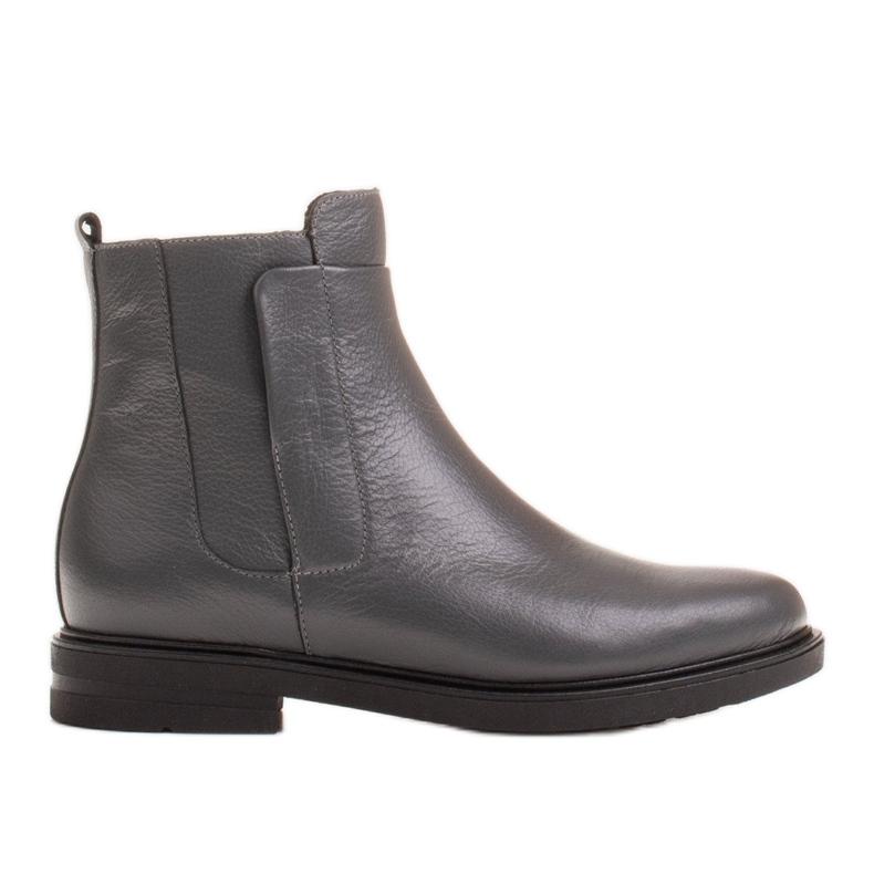 Marco Shoes Lekkie botki ocieplane na płaskim spodzie z naturalnej skóry szare