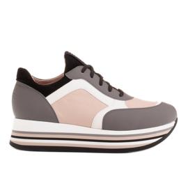 Marco Shoes Lekkie sneakersy na grubej podeszwie z naturalnej skóry szare
