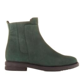 Marco Shoes Lekkie botki ocieplane na płaskim spodzie z naturalnej skóry zielone