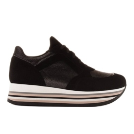 Marco Shoes Lekkie sneakersy na grubej podeszwie z naturalnej skóry czarne