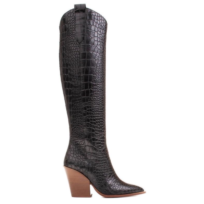 Marco Shoes Wysokie kozaki damskie kowbojki, motyw croco czarne