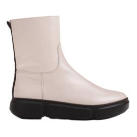 Marco Shoes Sportowe białe botki z miękkiej skóry naturalnej