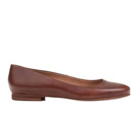 Marco Shoes Baleriny z brązowej skóry licowej ręcznie polerowanej