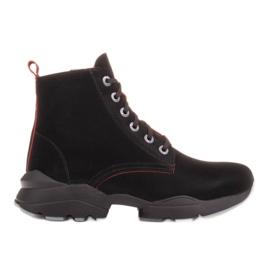 Marco Shoes Sportowe botki damskie z nubuku z czerwonymi wstawkami czarne