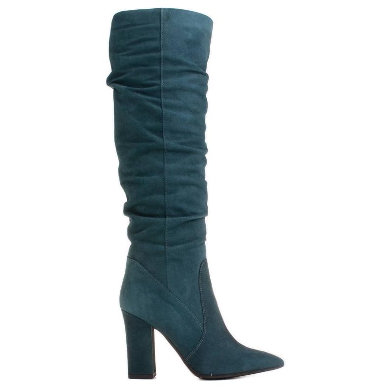 Marco Shoes Wysokie, marszczone kozaki zielone z naturalnego zamszu