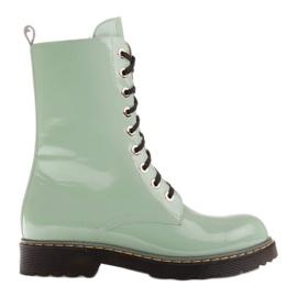 Marco Shoes Wysokie trzewiki, glany wiązane na półprzeźroczystej podeszwie zielone