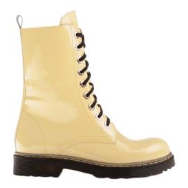 Marco Shoes Wysokie trzewiki, glany wiązane na półprzeźroczystej podeszwie żółte