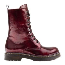 Marco Shoes Wysokie trzewiki, glany wiązane na półprzeźroczystej podeszwie czerwone