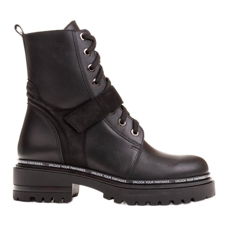 Marco Shoes Botki damskie z ciekawym, grubym spodem czarne