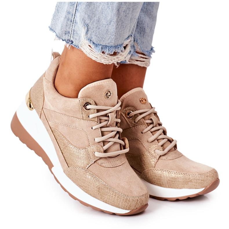 PE1 Sneakersy Na Koturnie Beżowe Temida beżowy