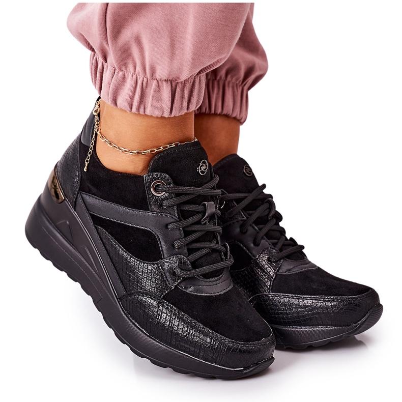 PE1 Sneakersy Na Koturnie Czarne Temida