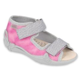 Befado obuwie dziecięce  342P033 różowe srebrny