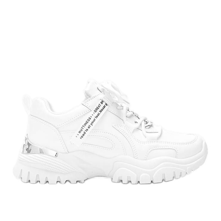 Białe sneakersy na grubej podeszwie Zooey