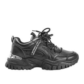 Czarne sneakersy na grubej podeszwie Zooey
