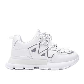 Białe sneakersy z odblaskowymi wstawkami Filua