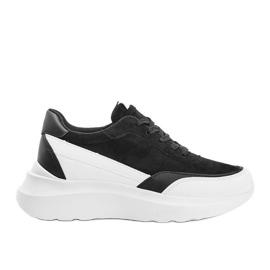 Czarne sneakersy z białymi dodatkami na wysokiej podeszwie Barteks białe