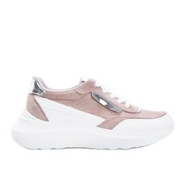 Beżowe sneakersy na grubej podeszwie Hella beżowy białe khaki