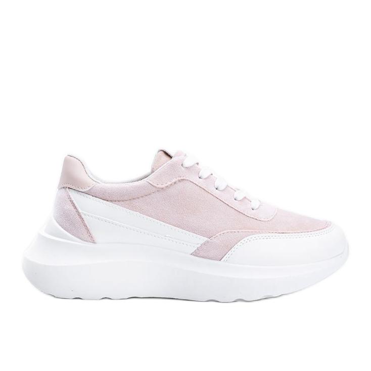 Beżowe sneakersy z białymi dodatkami na wysokiej podeszwie Barteks beżowy białe