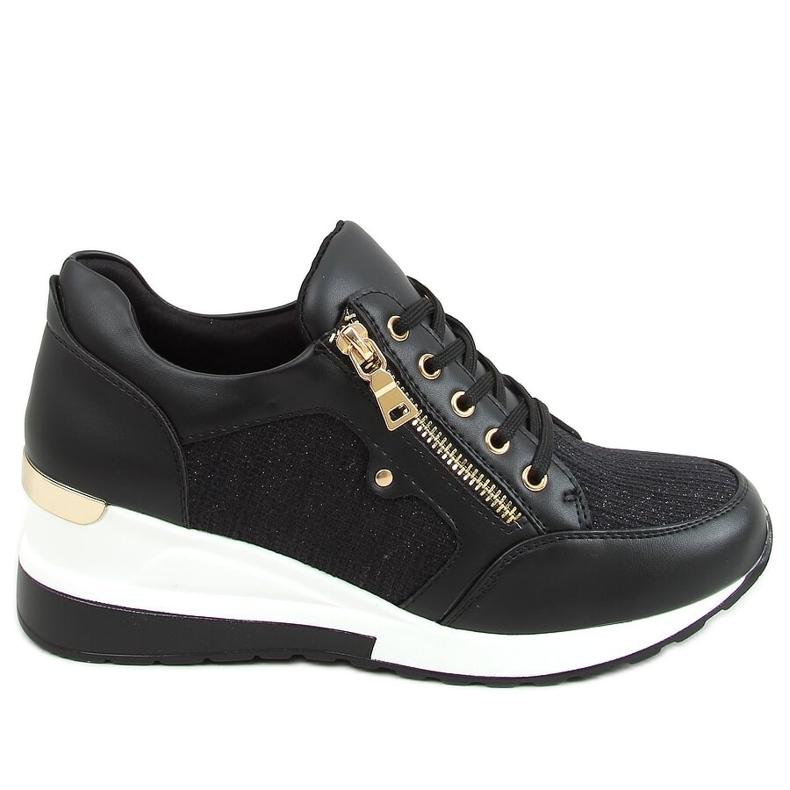 Sneakersy na koturnie czarne Y9521 Black Gold złoty
