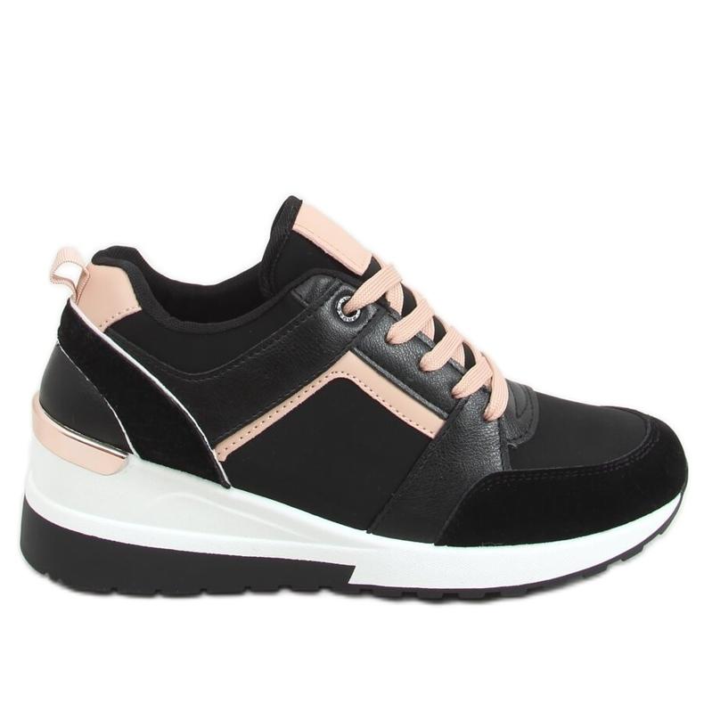 Buty sportowe na koturnie czarne P79 Black