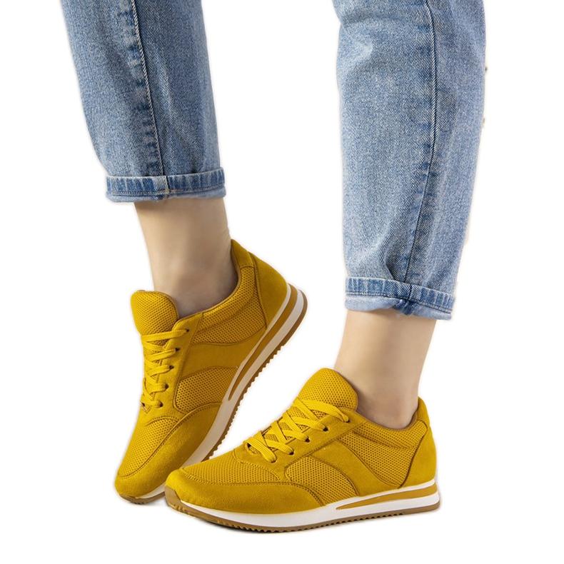 Musztardowe sneakersy sportowe Parila żółte