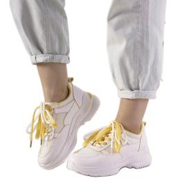 Białe sneakersy z żółtymi wstawkami Splitters żółte
