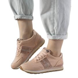Różowe sneakersy sportowe ozdobione cyrkoniami Ratia beżowy