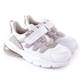 Dziecięce Sportowe Buty Na Rzep ABCKIDS Biało-Srebrne białe