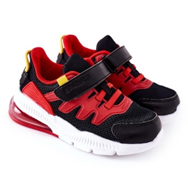 Dziecięce Sportowe Buty Na Rzep ABCKIDS Czarno-Czerwone czarne