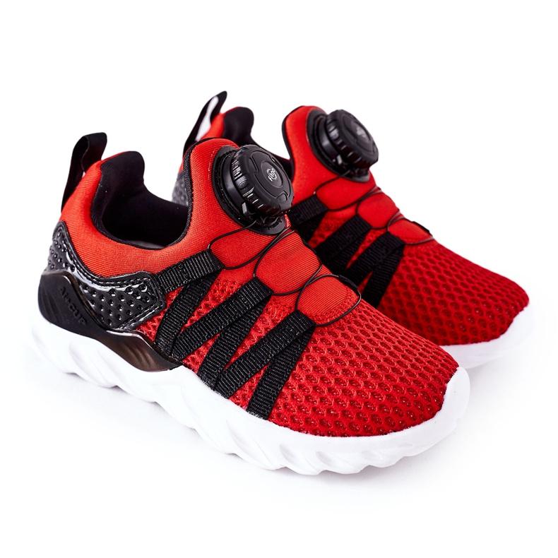 Dziecięce Sportowe Buty Z Pokrętłem ABCKIDS Czerwone czarne