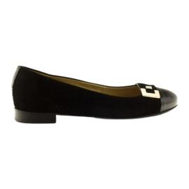 Balerinki buty damskie skórzane ze srebrną klamerką Edeo