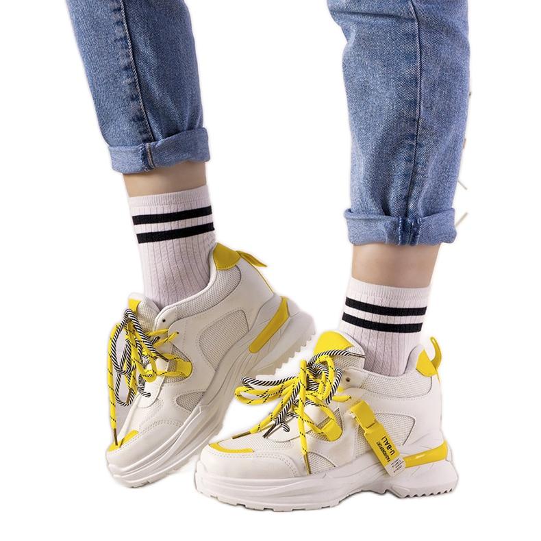 Biało żółte sneakersy z podwójnym wiązaniem One Chance białe
