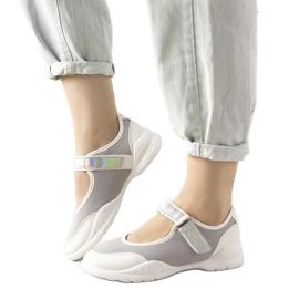 Szaro białe obuwie sportowe z holograficzną wstawką Melania szare