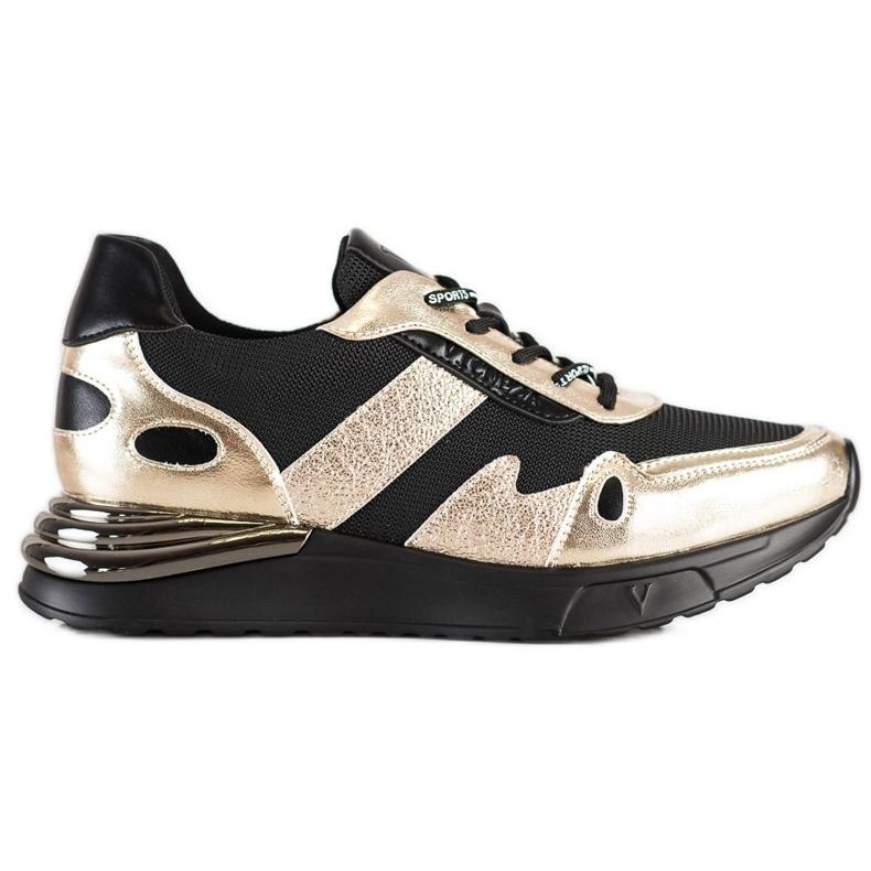 Sneakersy Z Brokatem VINCEZA czarne złoty