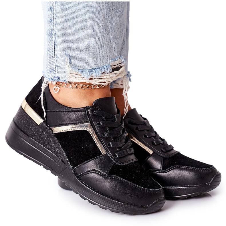 S.Barski Damskie Skórzane Sneakersy Na Koturnie Czarne Manitoba