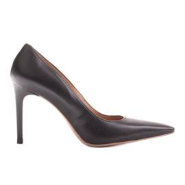 Marco Shoes Szpilki skórzane z wydłużonym przodem czarne