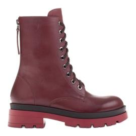 Marco Shoes Sznurowane botki Giulia bordowy czerwone