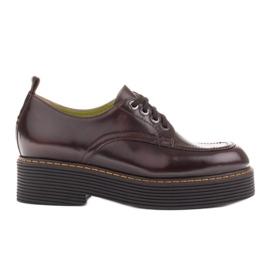 Marco Shoes Mokasyny Chiara ze skóry przecieranej czarne czerwone