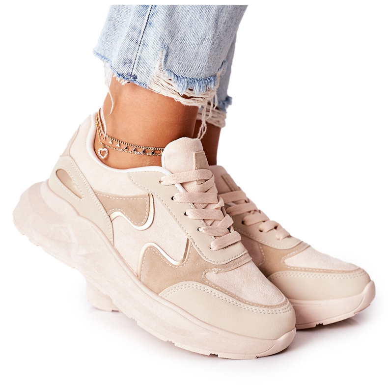 PE1 Damskie Sportowe Buty Sneakersy Beżowe Bethell beżowy