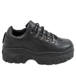 Buty sportowe na wysokiej podeszwie czarne 6291 Black